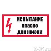 """Знак электробезопасности """"Испытание. Опасно для жизни!"""""""