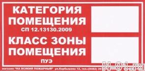 Категория пожаровзрывоопасности помещения, класс зоны по ПУЭ (100х200мм, пленка)