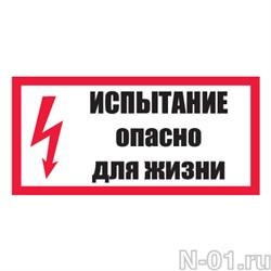 """Знак электробезопасности """"Испытание. Опасно для жизни!"""" - фото 3885"""