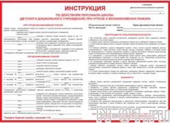 Инструкция по действиям персонала школы (детского дошкольного учреждения) при угрозе и возникновении пожара (300х420мм)