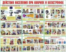 """Комплект плакатов """"Действия населения при авариях и катастрофах"""" (10 плакатов)"""