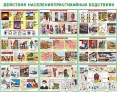 """Комплект плакатов """"Действия населения при стихийных бедствиях"""" (10 плакатов)"""